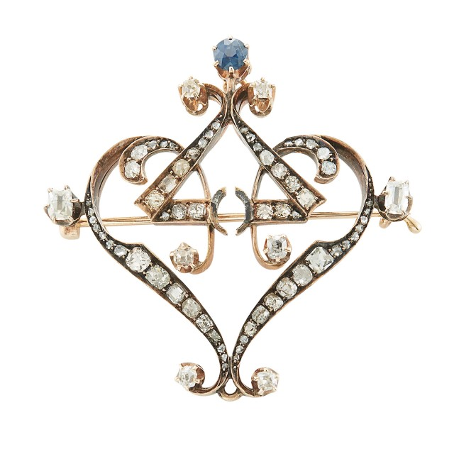 Gold, Diamond and Sapphire Brooch