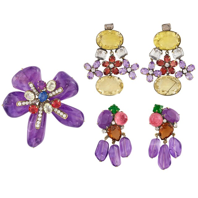 Metal, Amethyst, Citrine and Glass Flower Brooch, Iradj Moini, and Two Pairs of Pendant-Earclips