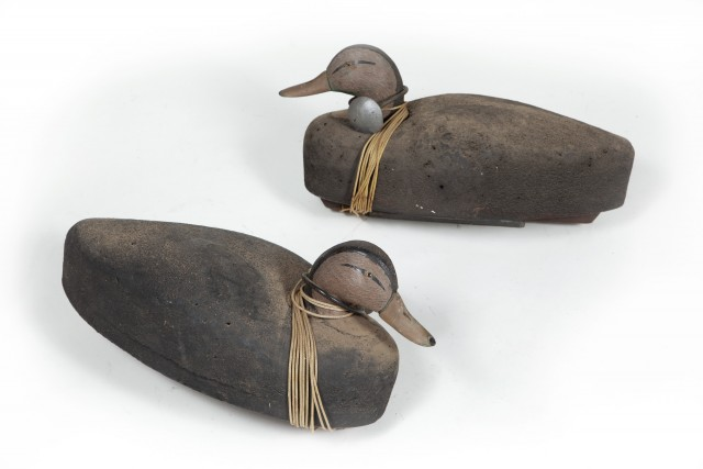 TWO AMERICAN BLACK DUCK DECOYS  Two carved and painted decoys of the American Black Duck.