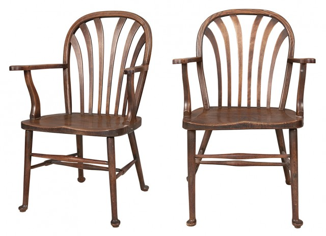 Pair of English Oak and Other Woods Windsor Open Armchairs