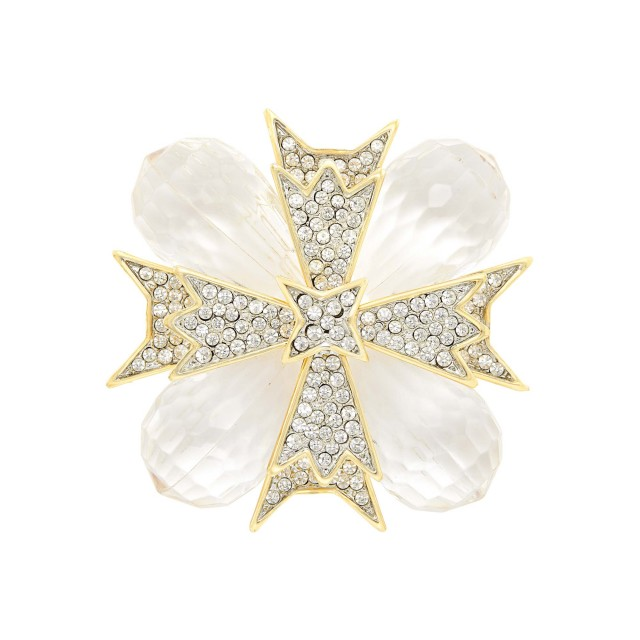 Metal, Glass and Rhinestone Maltese Cross Pendant-Brooch, Kenneth Jay Lane