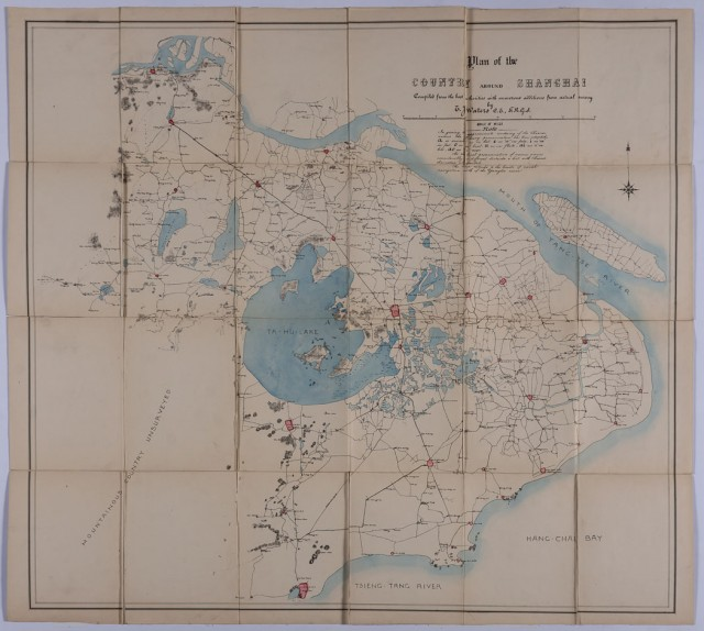 [CHINA]  WATERS, T. J. Map of the Country around Shanghai Compiled expressly for Sportsmen [cover title from case].