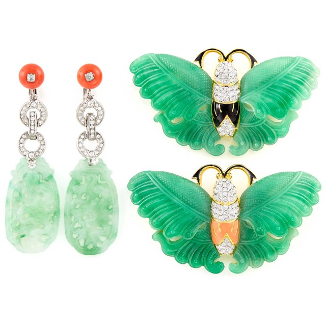 Two Metal, Rhinestone and Enamel Butterfly Brooches and Pair of Pendant-Earclips