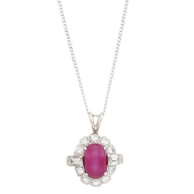 Platinum, Star Ruby and Diamond Pendant with White Gold Chain
