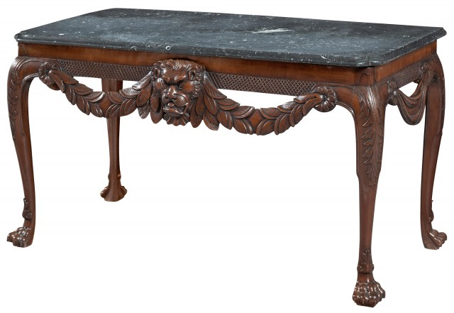 Irish George II Mahogany and Grey Fossil Marble Top Table