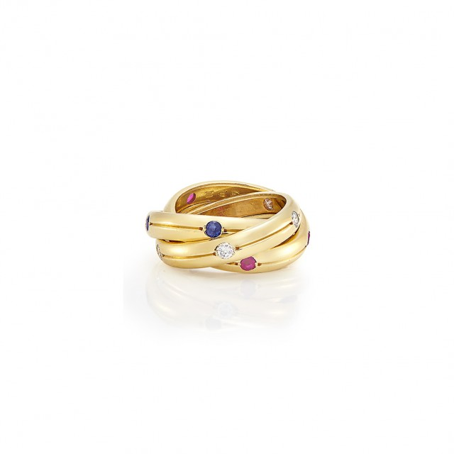 Gold, Diamond, Sapphire and Ruby \'Trinity\' Band Ring, Cartier