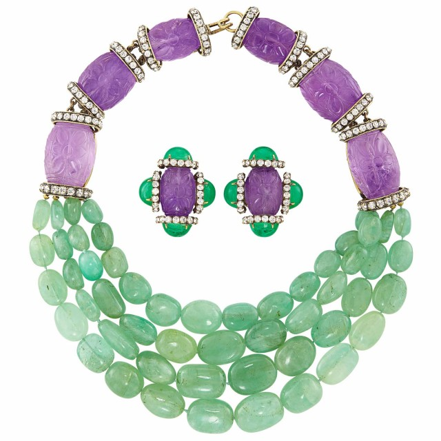 Metal, Adventurine Quartz, Carved Amethyst and Rhinestone Necklace and Pair of Carved Amethyst and Green Glass Earclips, Iradj Moini