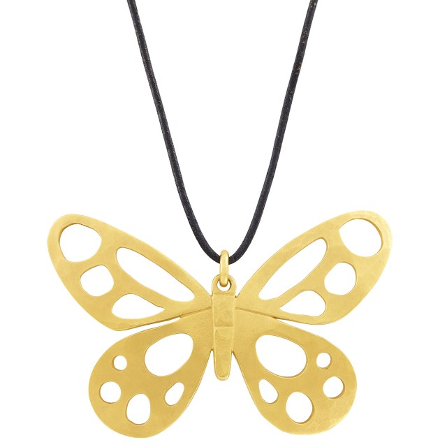 High Karat Gold 'Butterfly' Pendant with Cord Necklace, Linda Lee Johnson