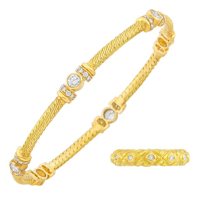 Gold and Diamond Band Ring, Seidengang, and Gold and Diamond Bangle Bracelet