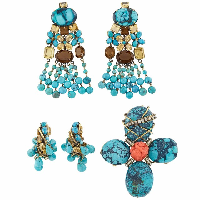 Two Pairs of Metal, Turquoise, Coral and Rhinestone Earclips and Cross, Iradj Moini