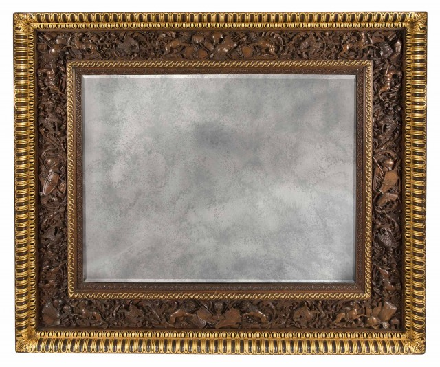 Italian Walnut and Parcel-Gilt Mirror by Angiolo Barbetti