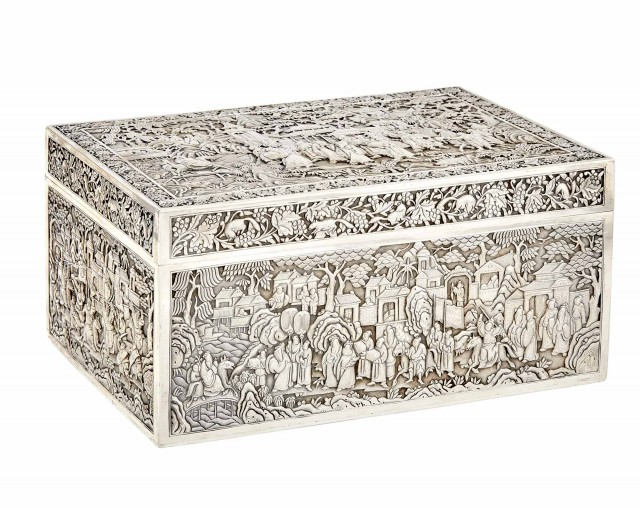 Chinese Silver Washed Metal Box