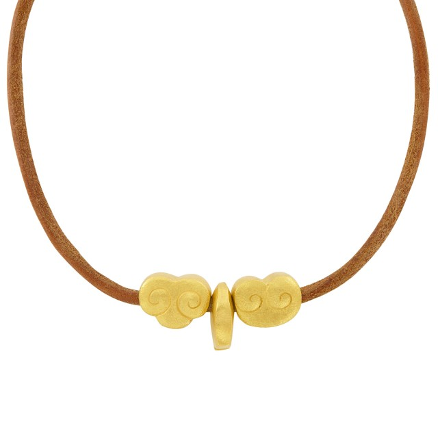 High Karat Gold and Cord Necklace, Linda Lee Johnson