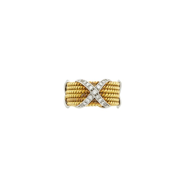 Tiffany and Co., Schlumberger Gold, Platinum and Diamond 'Rope Six Row X' Band Ring