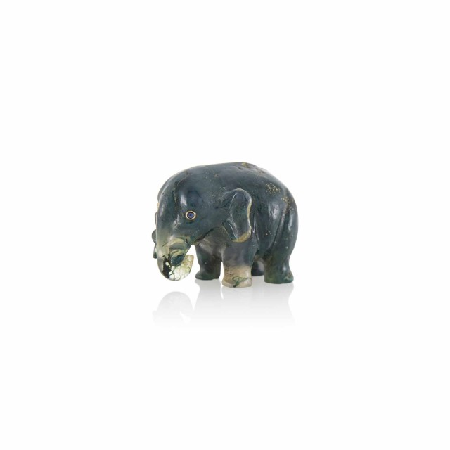 Fabergé Moss Agate Model of an Elephant