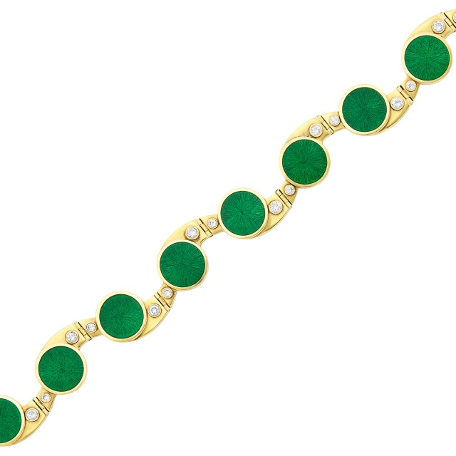 Gold, Green Enamel and Diamond Bracelet, Simon Benney