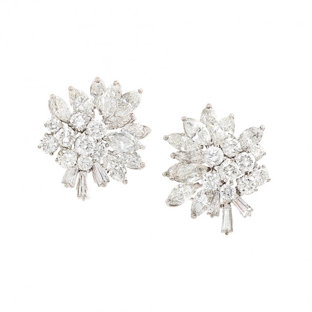 Pair of White Gold and Diamond Cluster Earrings