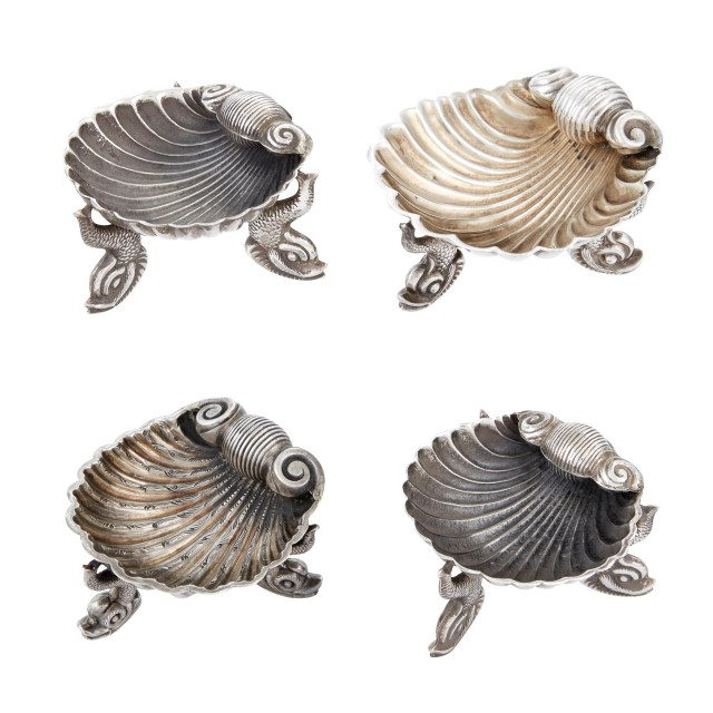 Four American and English Sterling Silver Shell Form Footed Salt Cellars