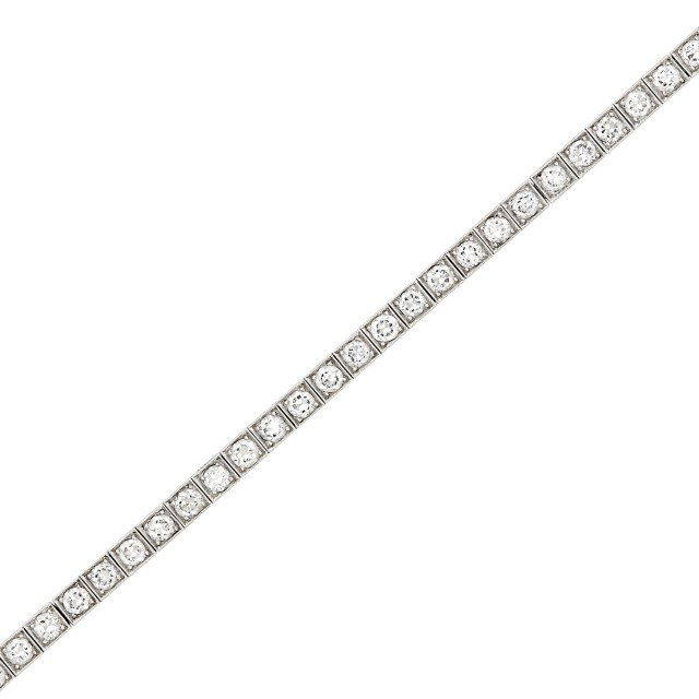Platinum and Diamond Straightline Bracelet