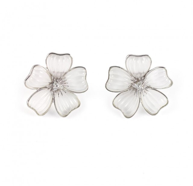 Pair of White Gold, Carved Frosted Rock Crystal and Diamond Flower Earclips