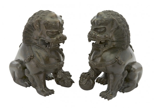 Pair of Chinese Bronze Fu Lions