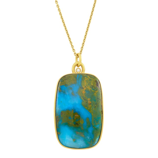 High Karat Gold, Agate, and Diamond Pendant with Chain Necklace, Linda Lee Johnson