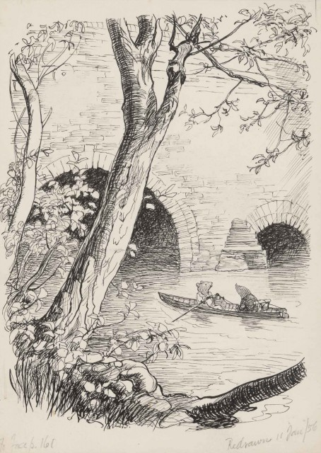 "SHEPARD, ERNEST H.  Original drawing [""They got the boat out and Rat took the sculls""] for Kenneth Grahame's The Wind in the Willows."