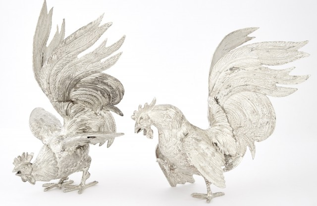 Pair of Silver Plated Roosters