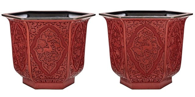 Pair of Carved Red \'Cinnabar Lacquer\' Jardinieres