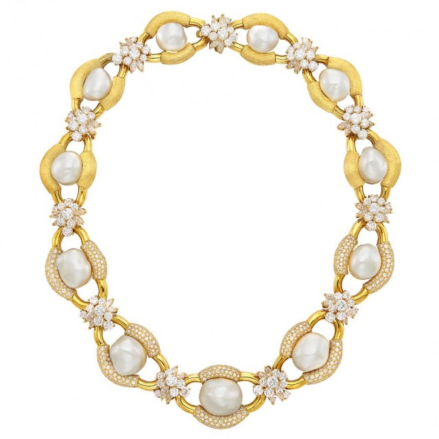 Gold, South Sea Semi-Baroque Cultured Pearl and Diamond Necklace, Henry Dunay