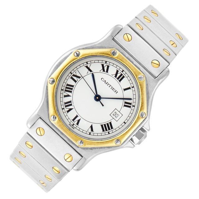 Stainless Steel and Gold 'Santos' Wristwatch, Cartier
