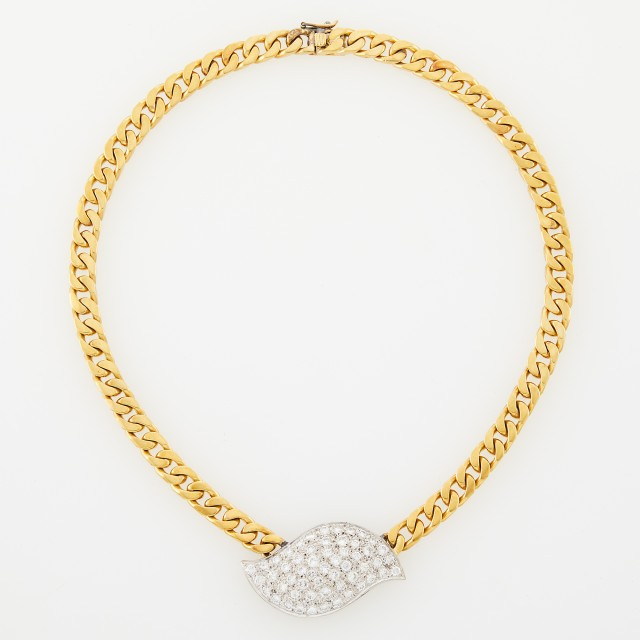 Two-Color Gold and Diamond Curb Link Necklace