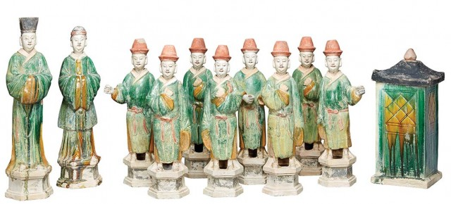 Group of Ten Chinese Green and Ochre Glazed Pottery Models of Court Attendants