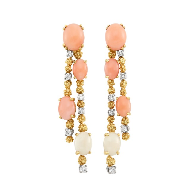 Pair of Gold, Coral and Diamond Pendant-Earrings, Gilbert Albert