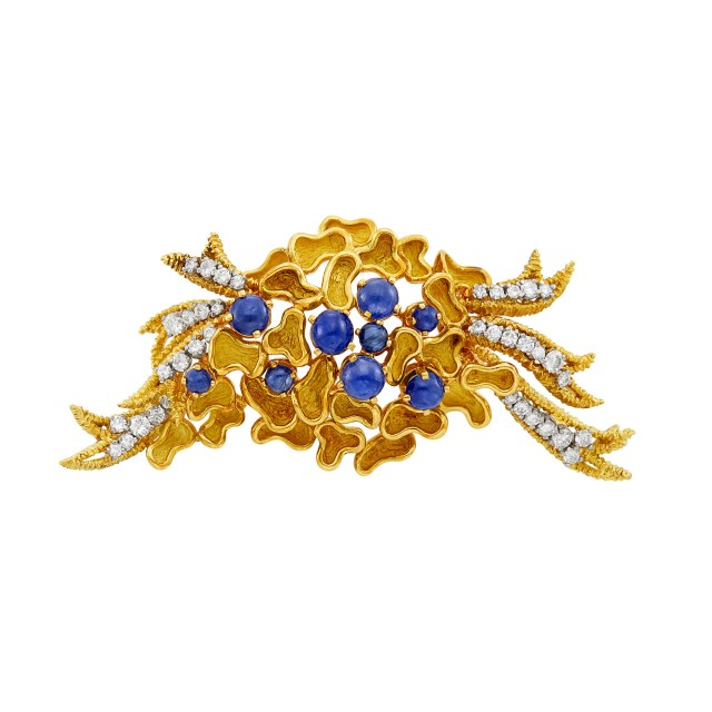 Gold, Cabochon Sapphire and Diamond Clip-Brooch, France