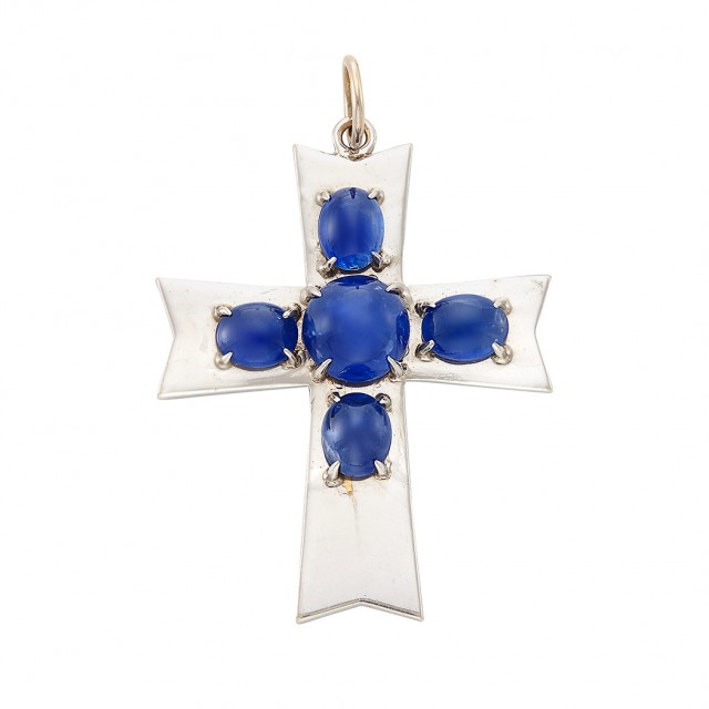 White Gold and Cabochon Sapphire Cross Pendant