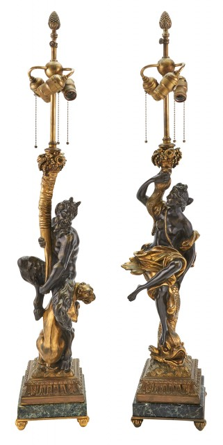 Pair of Patinated, Gilt-Bronze and Marble Figural Lamps