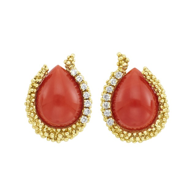 Pair of Gold, Coral and Diamond Earrings