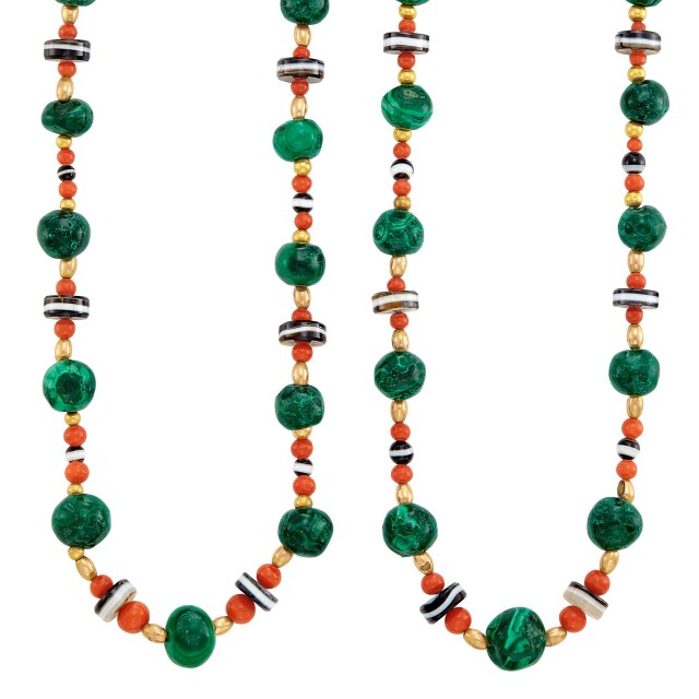 Pair of Gold, Malachite, Coral, Banded Agate and Gold Bead Necklaces