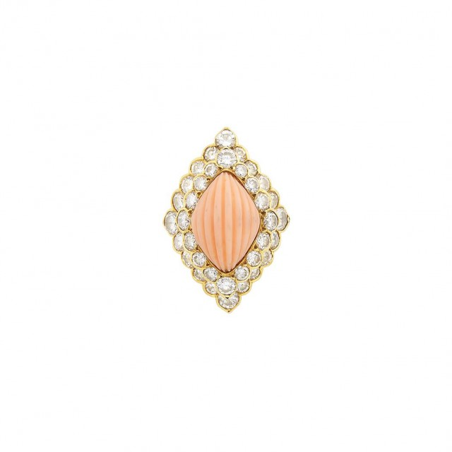 Gold, Carved Angel Skin Coral and Diamond Ring, Boucheron, France