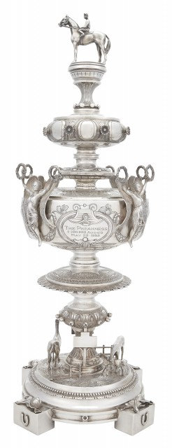 Important American Sterling Silver Trophy Won by Alfred Gwynne Vanderbilt, Jr's Native Dancer in the 1953 Preakness Stakes