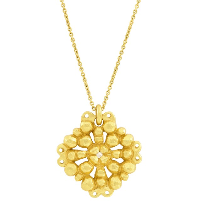 High Karat Gold and Diamond Maltese Cross Pendant with Chain Necklace, Linda Lee Johnson