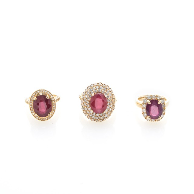 Three Gold, Composite Ruby and Diamond Rings