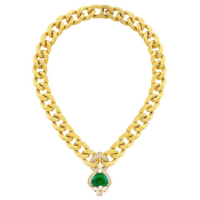 Gold, Peridot and Diamond Curb Link Chain Necklace, Henry Dunay