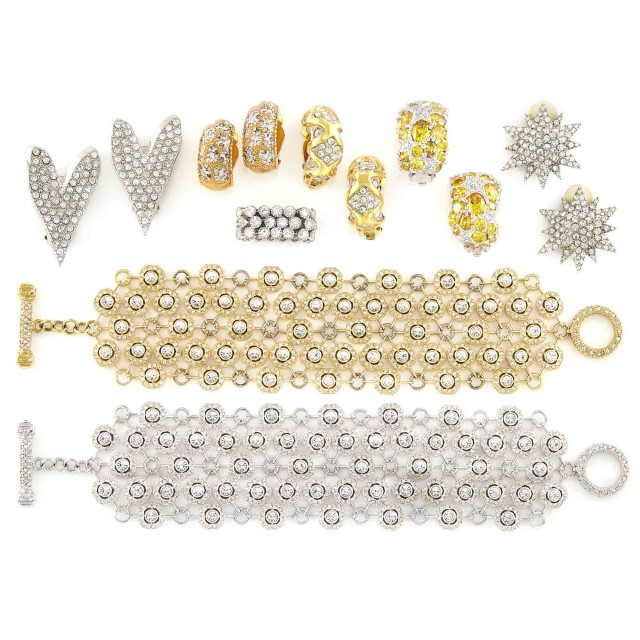 Two Metal and Rhinestone Bracelets, Five Pairs of Earclips and Ring