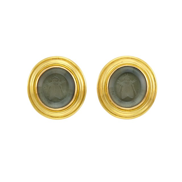 Pair of Gold, Green Glass Intaglio and Mother-of-Pearl Earclips, Elizabeth Locke