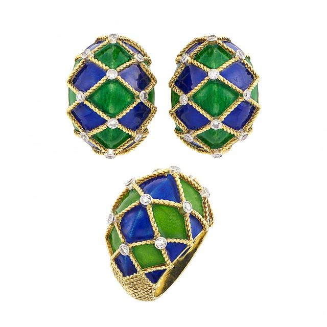 Pair of Gold, Platinum, Enamel and Diamond Bombé Earrings and Ring, Mauboussin, Paris