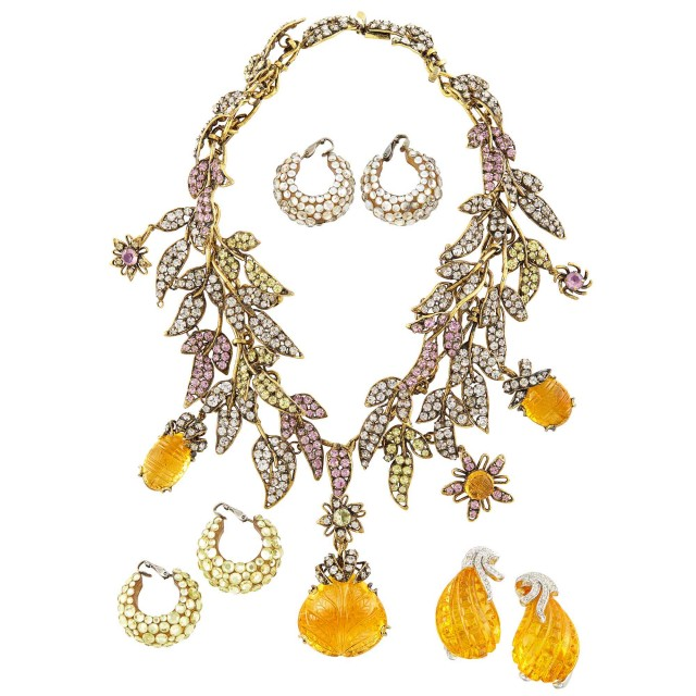 Metal, Rhinestone and Carved Glass Necklace, Iradj Moini, Pair of Carved Glass Earclips, Kenneth Jay Lane, and Two Pairs of Rhinestone Earclips