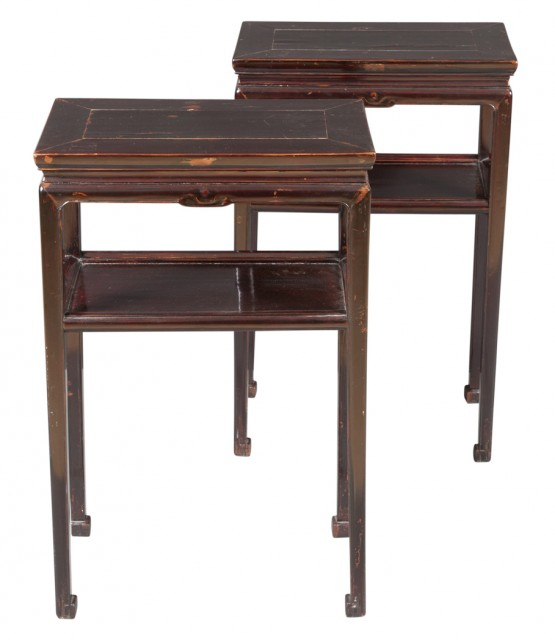 Pair of Chinese Black Lacquer Softwood Tables