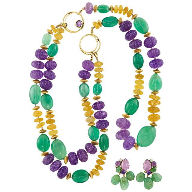 Three Strand Fluted Amethyst and Citrine and Green Glass Bead Necklace and Pair of Pendant-Earclips, Iradj Moini